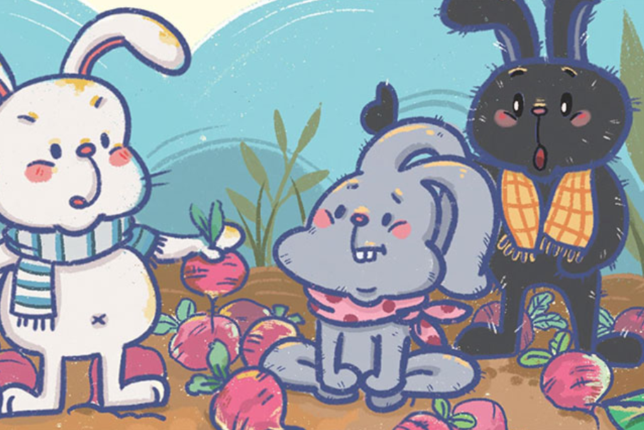 Bunny divides the radish